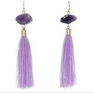 NWT purple Tassel Earrings.